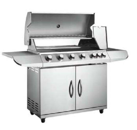 6 main burner and 1 side burner gas grill barbecue