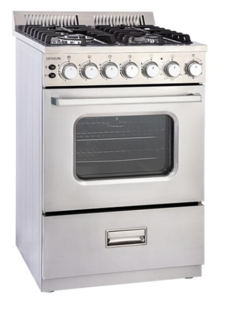 76liter Freestanding Oven with 4 Gas Stove 430# Stainless Steel Body Ce ETL Model